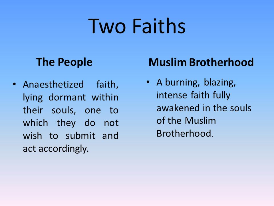 Two Faiths The People Anaesthetized faith, lying dormant within their souls, one to which they do not wish to submit and act accordingly.