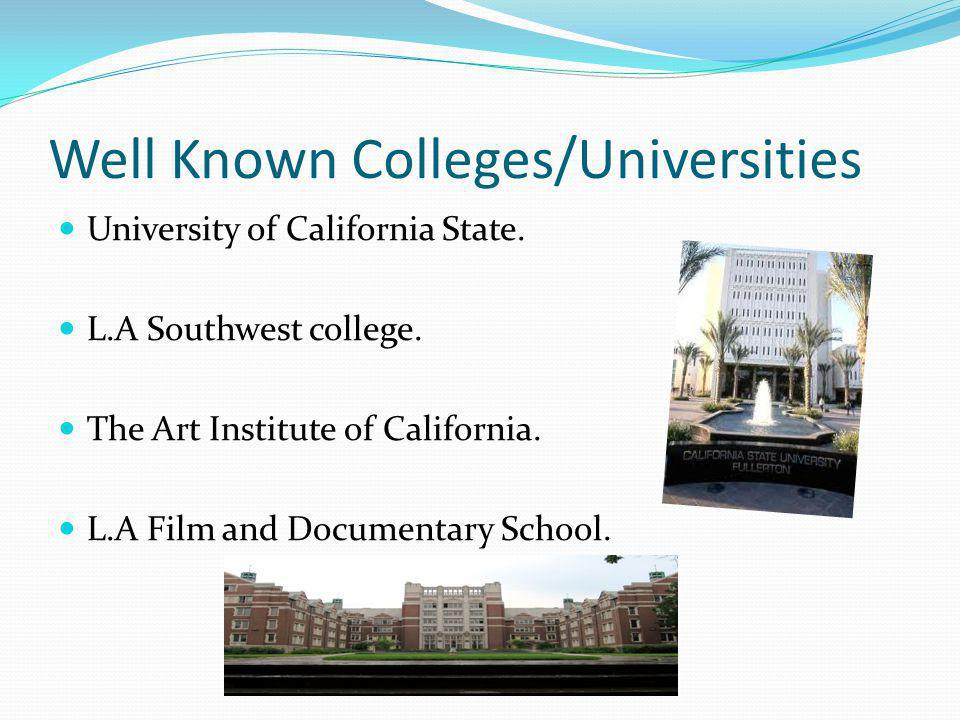 Well Known Colleges/Universities University of California State.