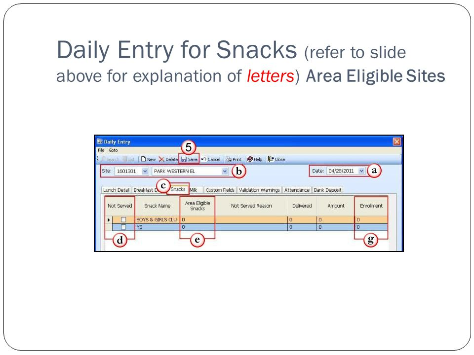 Daily Entry for Snacks (refer to slide above for explanation of letters) Area Eligible Sites