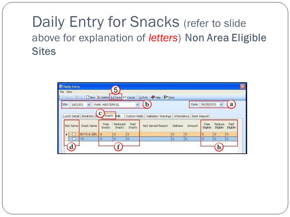 Daily Entry for Snacks (refer to slide above for explanation of letters) Non Area Eligible Sites