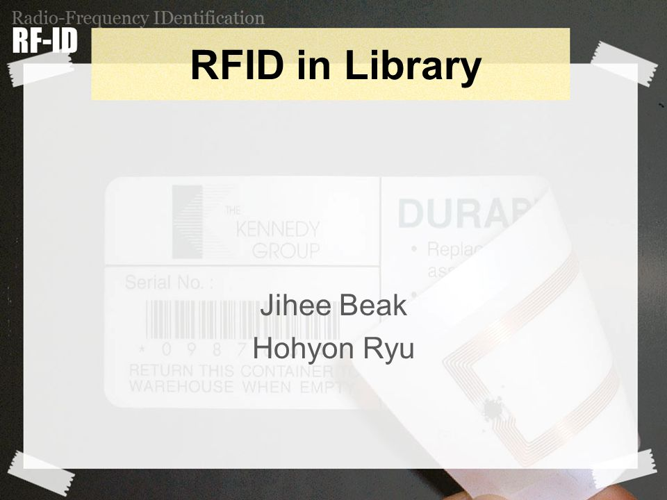 RFID in Library Jihee Beak Hohyon Ryu
