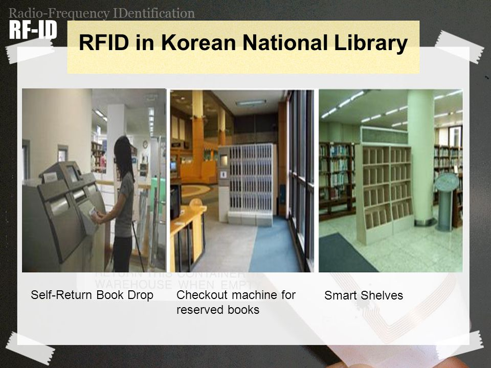Self-Return Book Drop Checkout machine for reserved books Smart Shelves RFID in Korean National Library