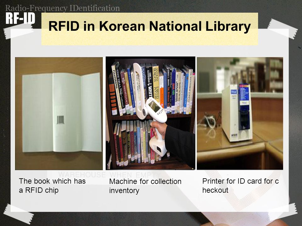 Printer for ID card for c heckout Machine for collection inventory The book which has a RFID chip RFID in Korean National Library
