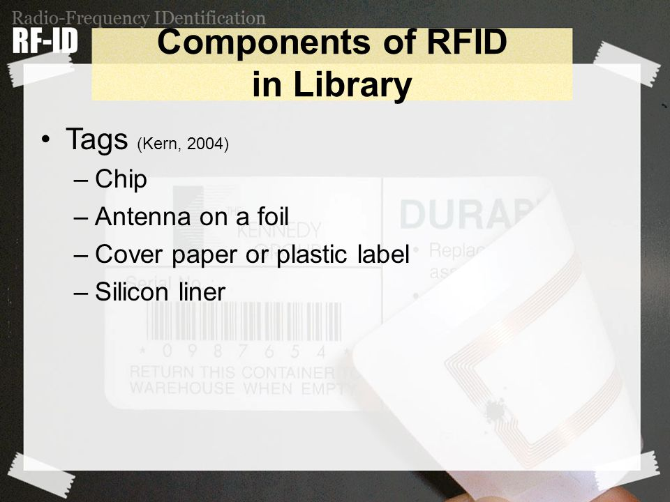 Components of RFID in Library Tags (Kern, 2004) –Chip –Antenna on a foil –Cover paper or plastic label –Silicon liner