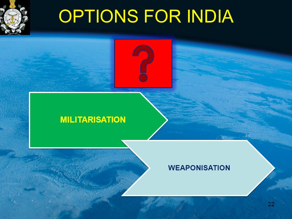 MILITARISATION WEAPONISATION OPTIONS FOR INDIA 22