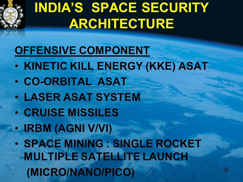 INDIA'S SPACE SECURITY ARCHITECTURE OFFENSIVE COMPONENT KINETIC KILL ENERGY (KKE) ASAT CO-ORBITAL ASAT LASER ASAT SYSTEM CRUISE MISSILES IRBM (AGNI V/VI) SPACE MINING : SINGLE ROCKET MULTIPLE SATELLITE LAUNCH (MICRO/NANO/PICO) 35
