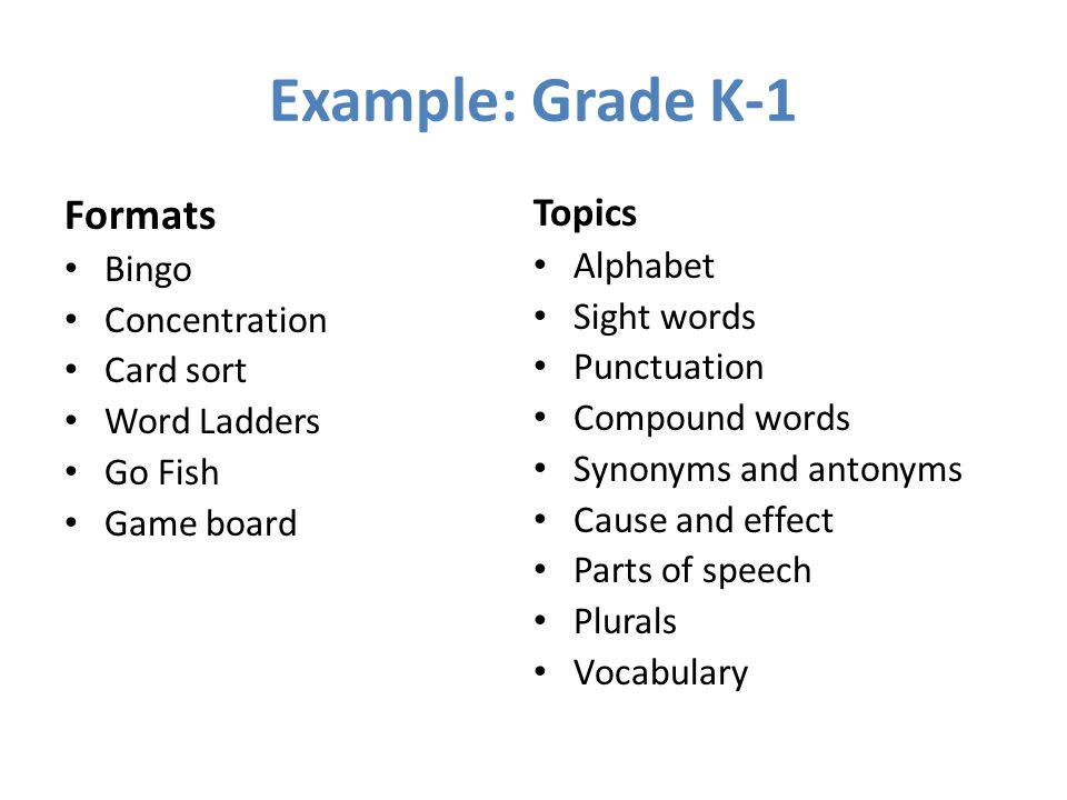 Example: Grade K-1 Formats Bingo Concentration Card sort Word Ladders Go Fish Game board Topics Alphabet Sight words Punctuation Compound words Synonyms and antonyms Cause and effect Parts of speech Plurals Vocabulary