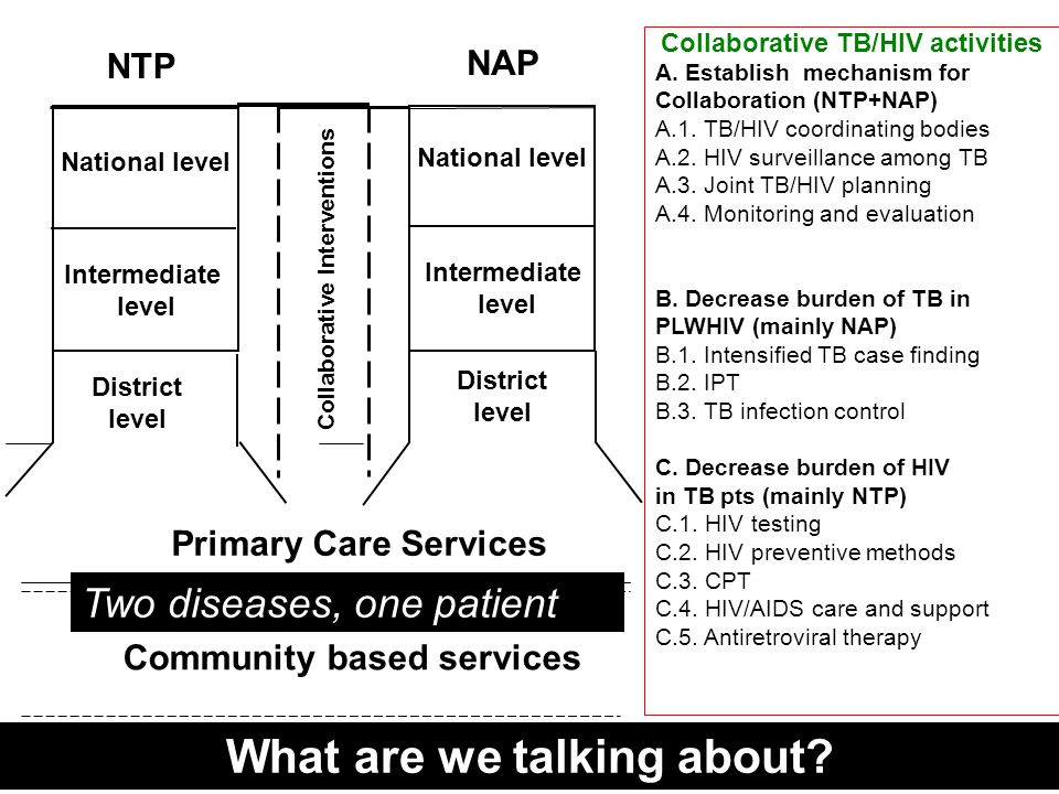 Primary Care Services Community based services Collaborative Interventions National level Intermediate level District level NTP National level Intermediate level District level NAP Collaborative TB/HIV activities A.
