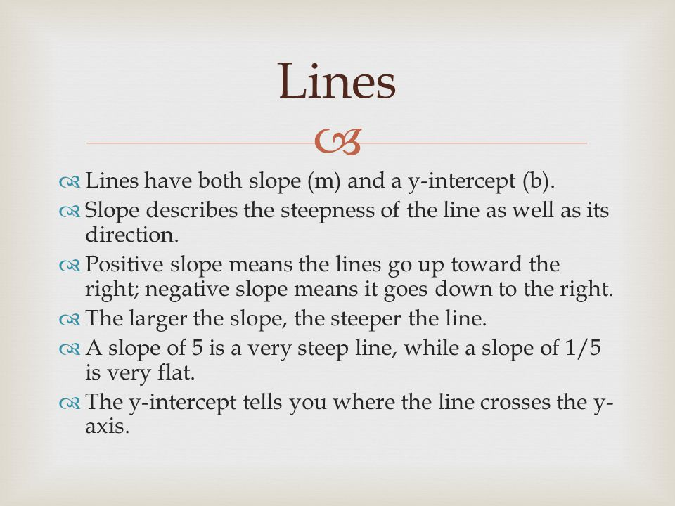   Lines have both slope (m) and a y-intercept (b).