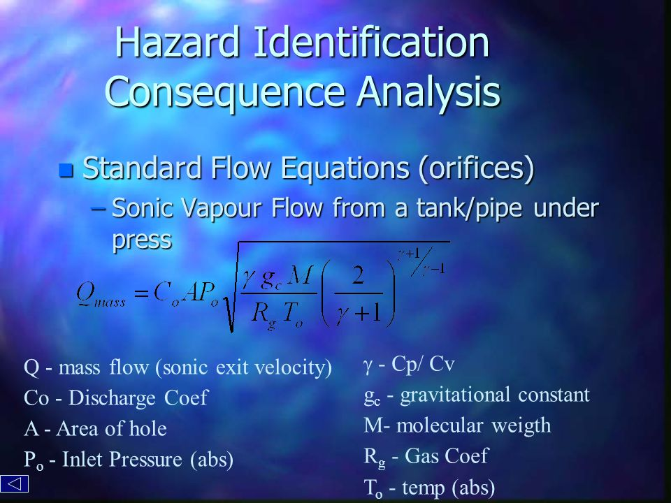 Hazard Identification Consequence Analysis n Standard Flow Equations (orifices) –Sonic Vapour Flow from a tank/pipe under press Q - mass flow (sonic exit velocity) Co - Discharge Coef A - Area of hole P o - Inlet Pressure (abs)  - Cp/ Cv g c - gravitational constant M- molecular weigth R g - Gas Coef T o - temp (abs)