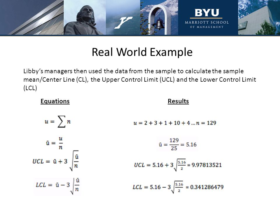 Real World Example Libby's managers then used the data from the sample to calculate the sample mean/Center Line (CL), the Upper Control Limit (UCL) and the Lower Control Limit (LCL) EquationsResults