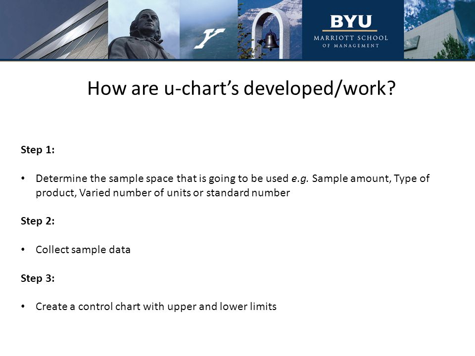 How are u-chart's developed/work. Step 1: Determine the sample space that is going to be used e.g.