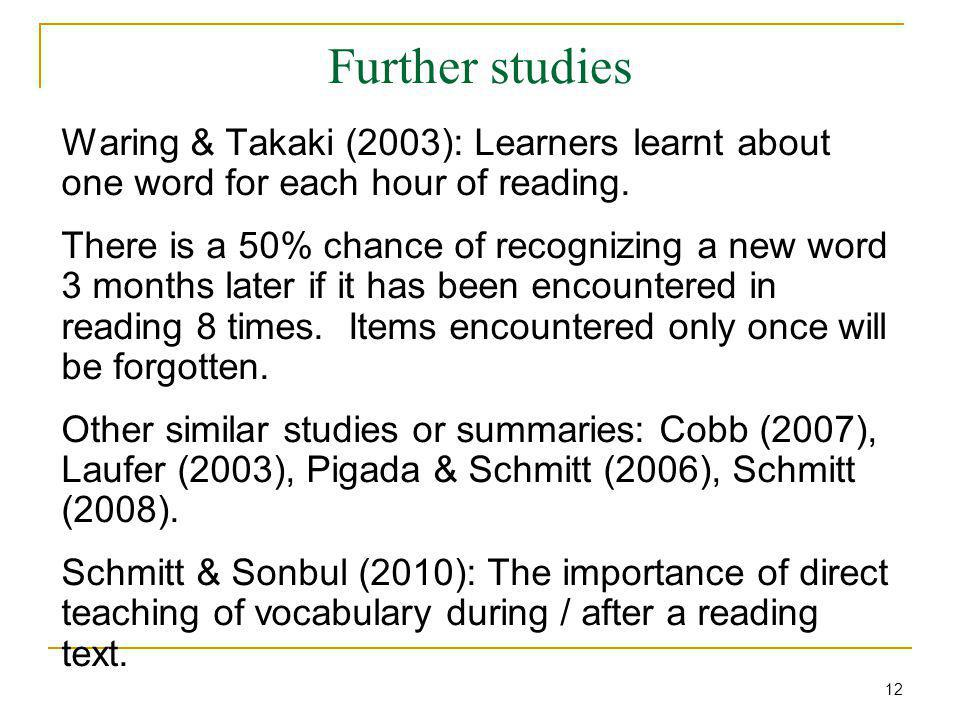 Further studies Waring & Takaki (2003): Learners learnt about one word for each hour of reading.