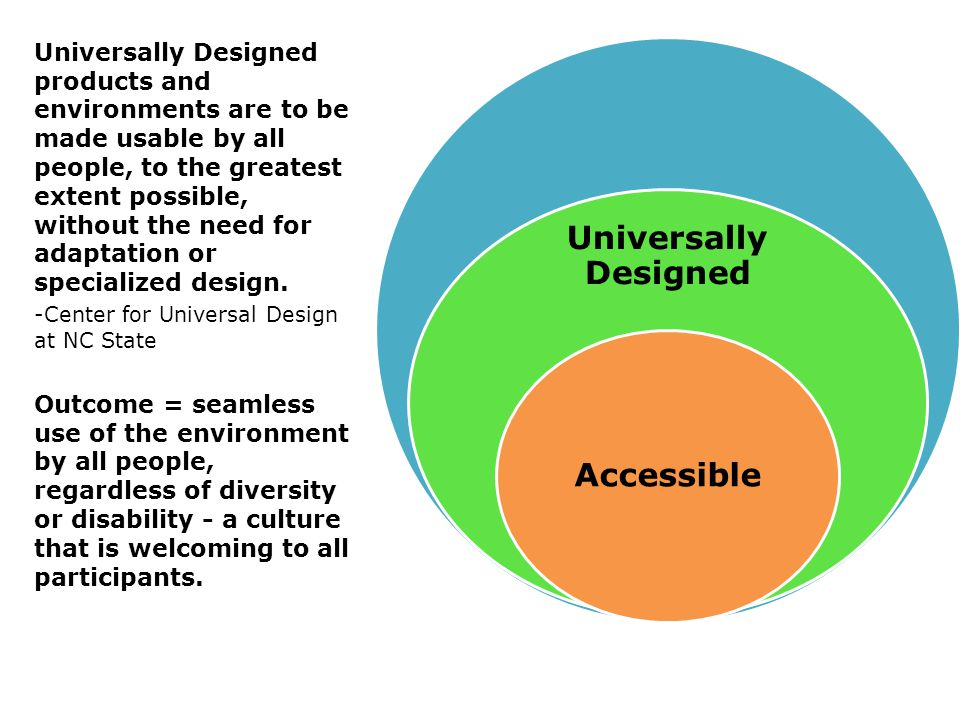 Universally Designed Accessible Universally Designed products and environments are to be made usable by all people, to the greatest extent possible, without the need for adaptation or specialized design.