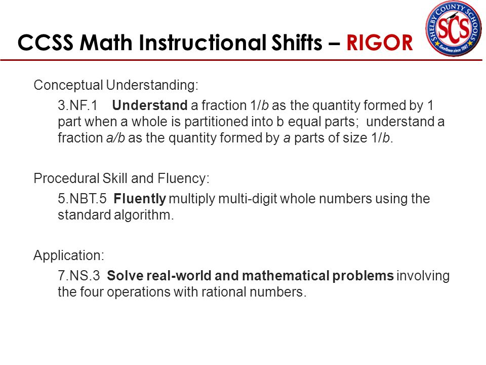 CCSS Math Instructional Shifts – RIGOR Conceptual Understanding: 3.NF.1 Understand a fraction 1/b as the quantity formed by 1 part when a whole is partitioned into b equal parts; understand a fraction a/b as the quantity formed by a parts of size 1/b.