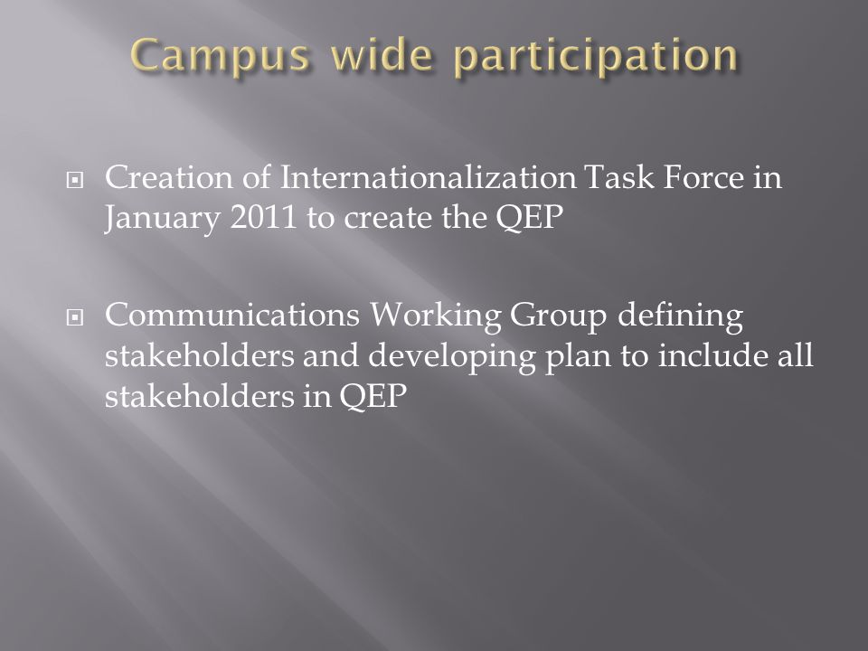  Creation of Internationalization Task Force in January 2011 to create the QEP  Communications Working Group defining stakeholders and developing plan to include all stakeholders in QEP