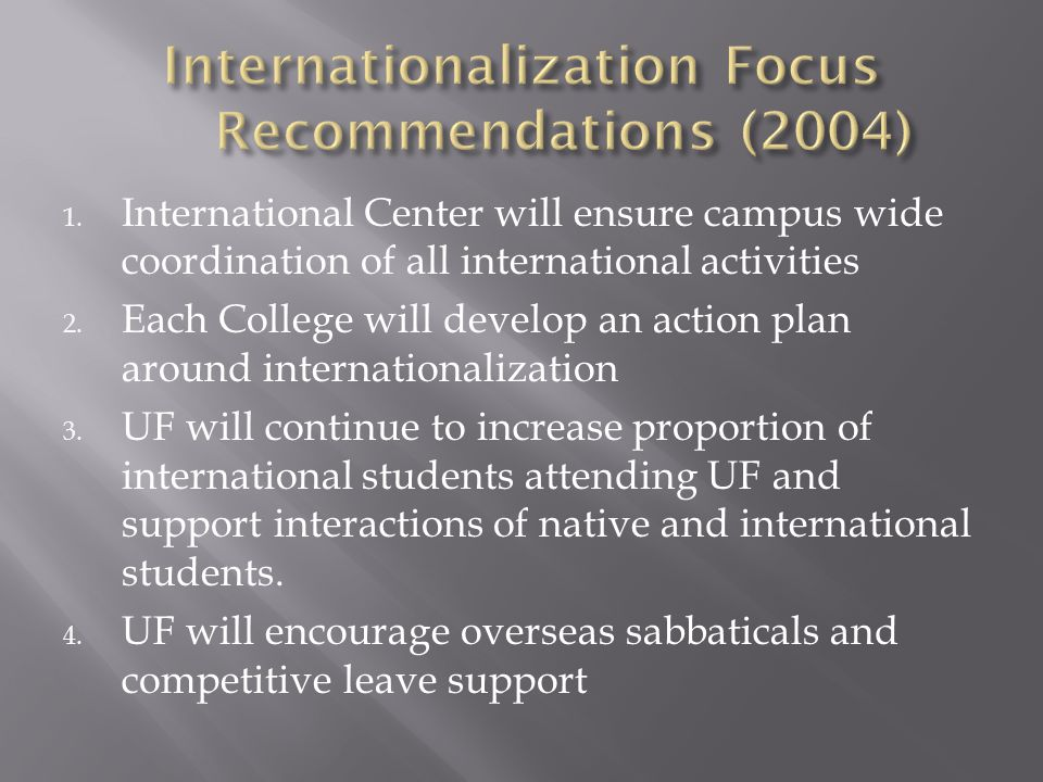 1. International Center will ensure campus wide coordination of all international activities 2.