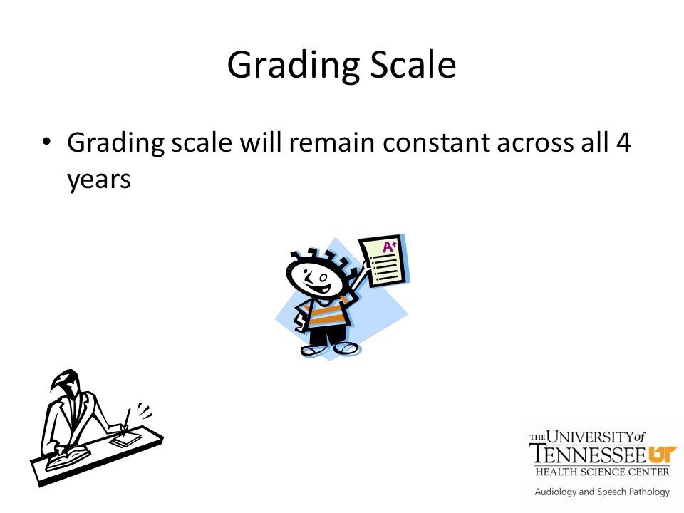 Grading Scale Grading scale will remain constant across all 4 years