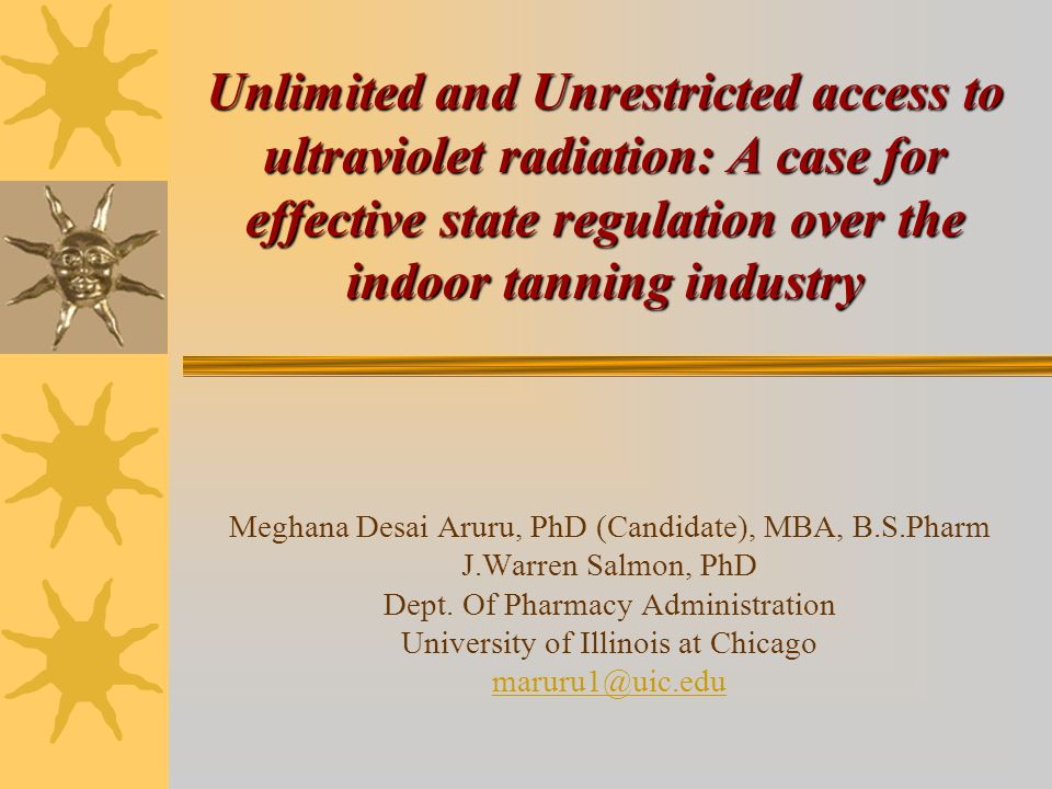 Unlimited and Unrestricted access to ultraviolet radiation: A case for effective state regulation over the indoor tanning industry Meghana Desai Aruru, PhD (Candidate), MBA, B.S.Pharm J.Warren Salmon, PhD Dept.