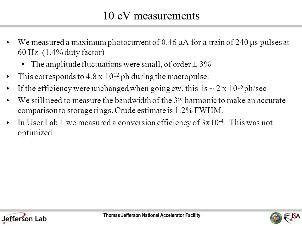 10 eV measurements We measured a maximum photocurrent of 0.46  A for a train of 240  s pulses at 60 Hz (1.4% duty factor) The amplitude fluctuations were small, of order ± 3% This corresponds to 4.8 x 10 12 ph during the macropulse.