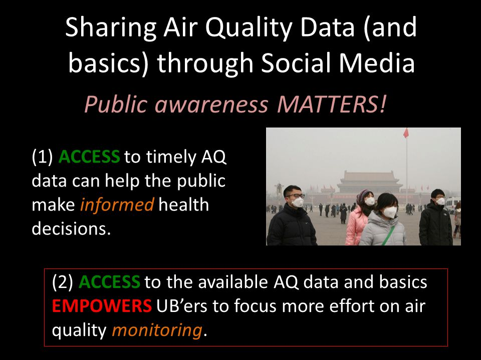 Sharing Air Quality Data (and basics) through Social Media Public awareness MATTERS.