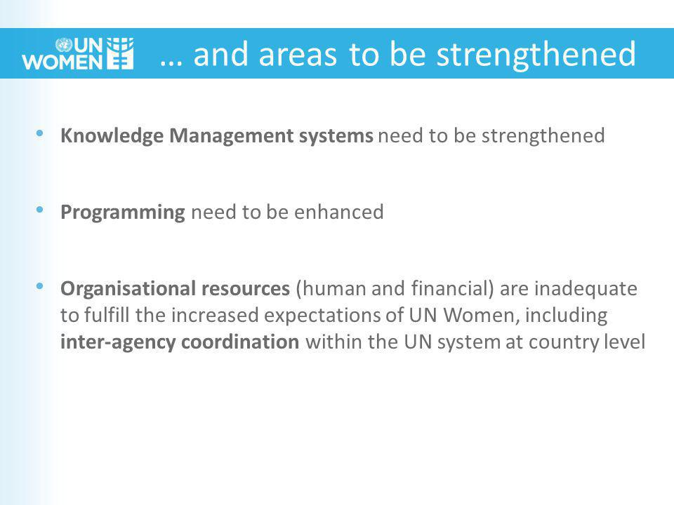 Knowledge Management systems need to be strengthened Programming need to be enhanced Organisational resources (human and financial) are inadequate to fulfill the increased expectations of UN Women, including inter-agency coordination within the UN system at country level … and areas to be strengthened