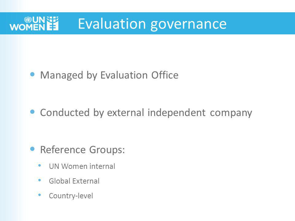 Evaluation governance Managed by Evaluation Office Conducted by external independent company Reference Groups: UN Women internal Global External Country-level