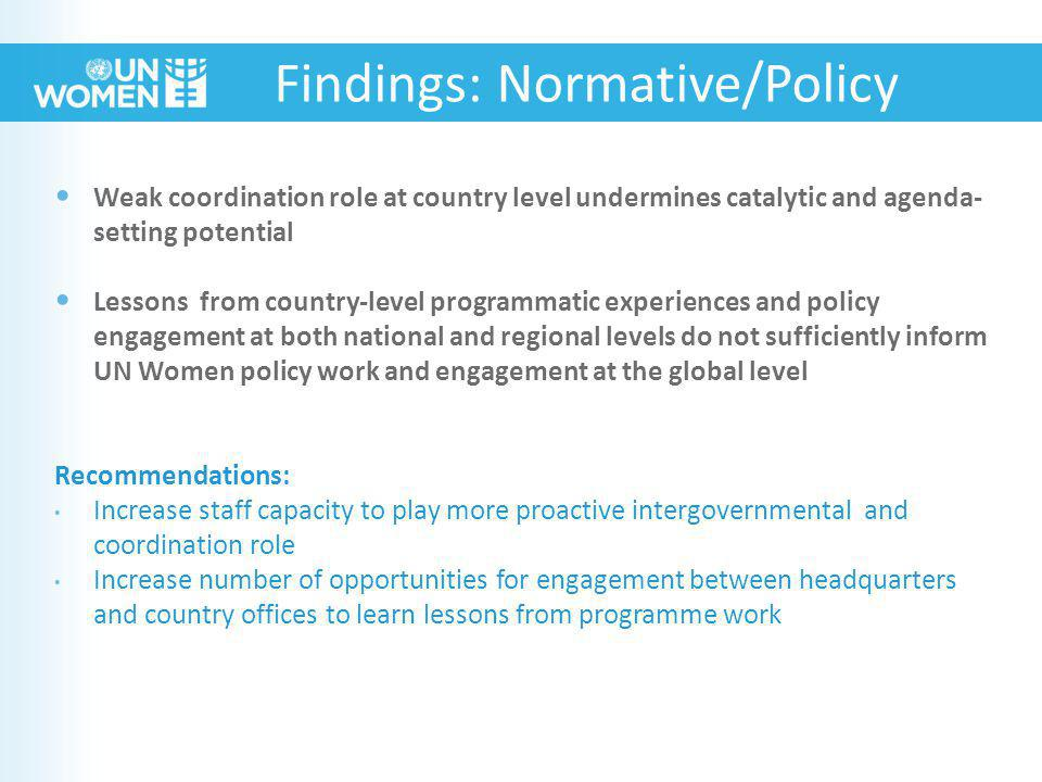 Weak coordination role at country level undermines catalytic and agenda- setting potential Lessons from country-level programmatic experiences and policy engagement at both national and regional levels do not sufficiently inform UN Women policy work and engagement at the global level Recommendations: Increase staff capacity to play more proactive intergovernmental and coordination role Increase number of opportunities for engagement between headquarters and country offices to learn lessons from programme work Findings: Normative/Policy