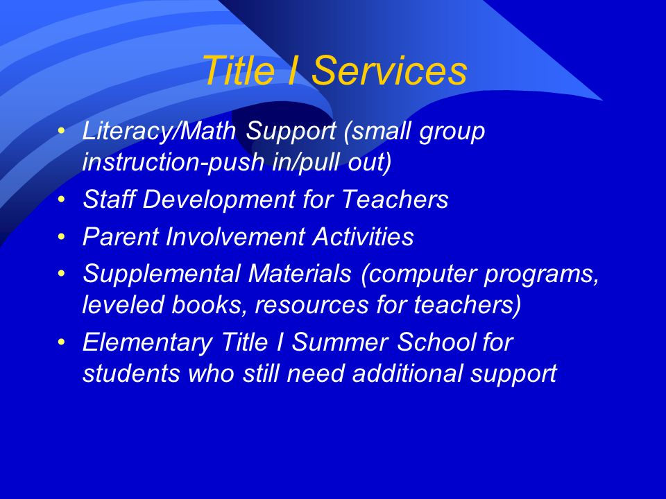 Title I Services Literacy/Math Support (small group instruction-push in/pull out) Staff Development for Teachers Parent Involvement Activities Supplemental Materials (computer programs, leveled books, resources for teachers) Elementary Title I Summer School for students who still need additional support