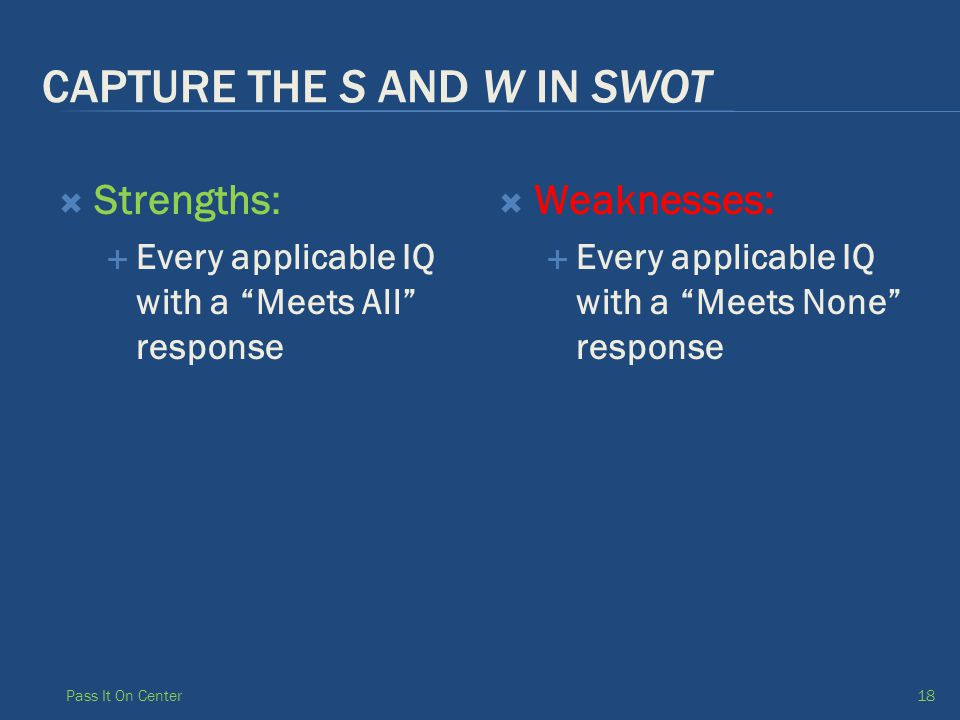CAPTURE THE S AND W IN SWOT  Strengths:  Every applicable IQ with a Meets All response  Weaknesses:  Every applicable IQ with a Meets None response Pass It On Center18