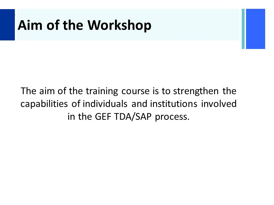 + Aim of the Workshop The aim of the training course is to strengthen the capabilities of individuals and institutions involved in the GEF TDA/SAP process.