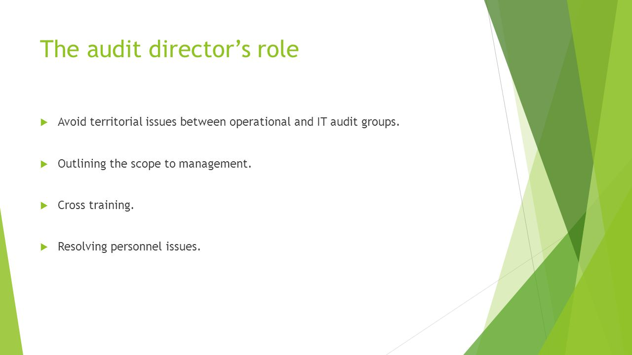 The audit director's role  Avoid territorial issues between operational and IT audit groups.