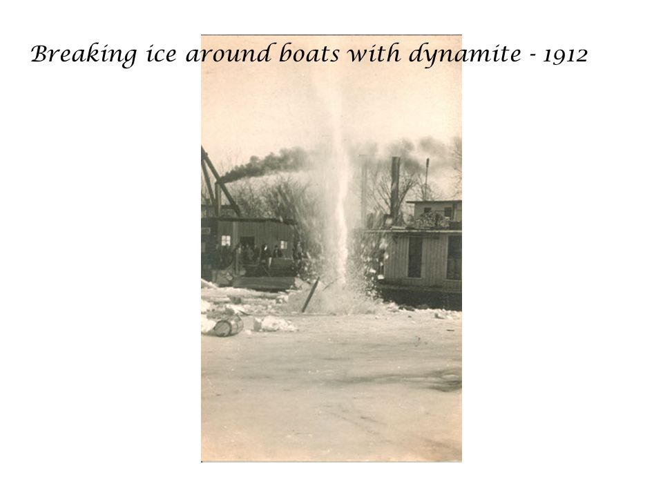 Breaking ice around boats with dynamite - 1912