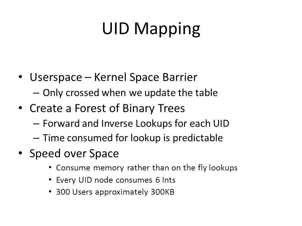 UID Mapping Userspace – Kernel Space Barrier – Only crossed when we update the table Create a Forest of Binary Trees – Forward and Inverse Lookups for each UID – Time consumed for lookup is predictable Speed over Space Consume memory rather than on the fly lookups Every UID node consumes 6 Ints 300 Users approximately 300KB