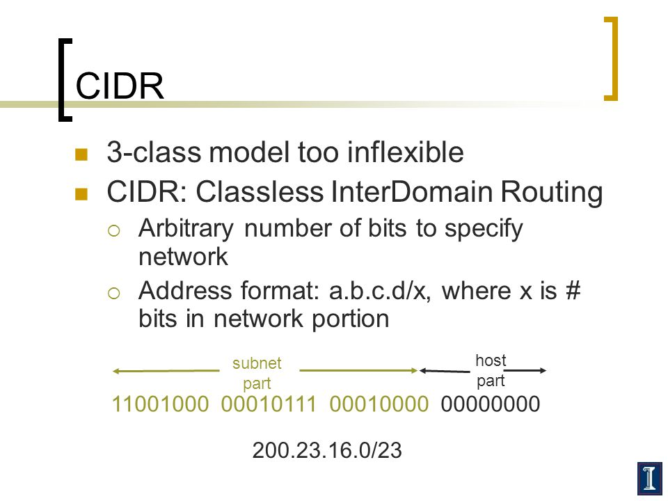 CIDR 3-class model too inflexible CIDR: Classless InterDomain Routing  Arbitrary number of bits to specify network  Address format: a.b.c.d/x, where x is # bits in network portion 11001000 00010111 00010000 00000000 subnet part host part 200.23.16.0/23