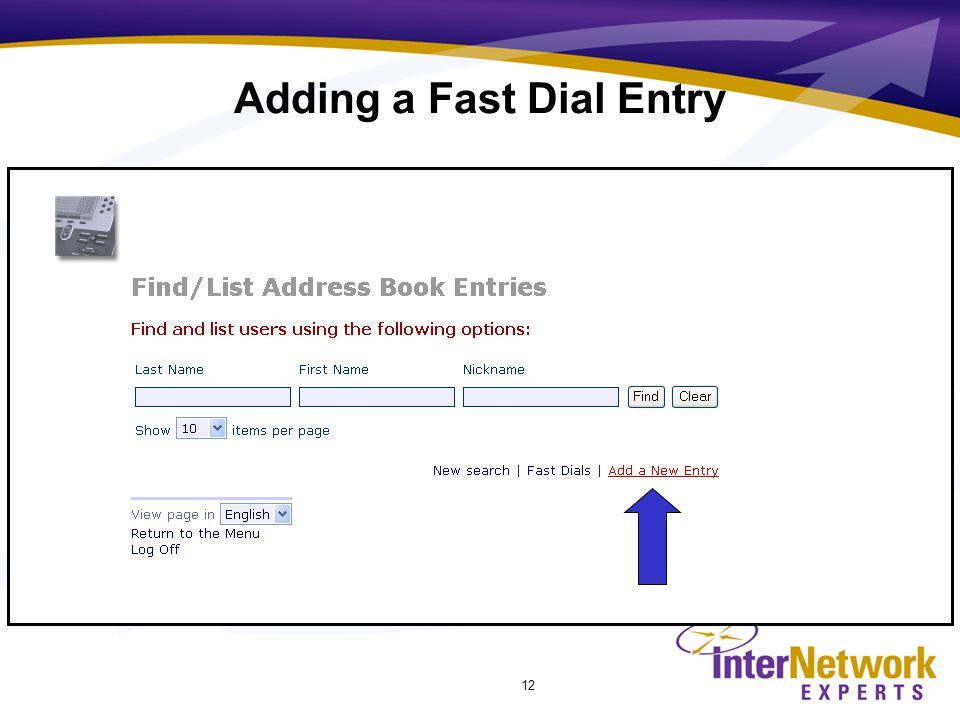 12 Adding a Fast Dial Entry