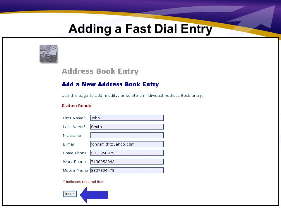 13 Adding a Fast Dial Entry