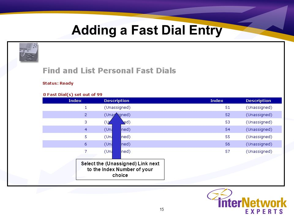 15 Select the (Unassigned) Link next to the Index Number of your choice Adding a Fast Dial Entry