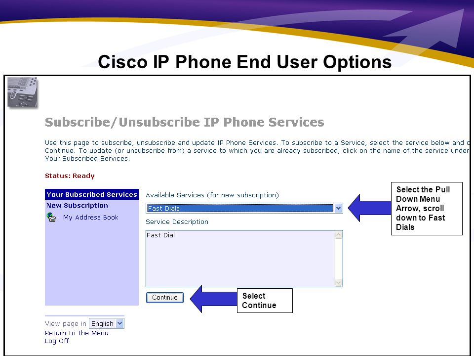 8 Select the Pull Down Menu Arrow, scroll down to Fast Dials Select Continue Cisco IP Phone End User Options