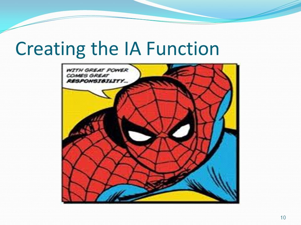 Creating the IA Function 10