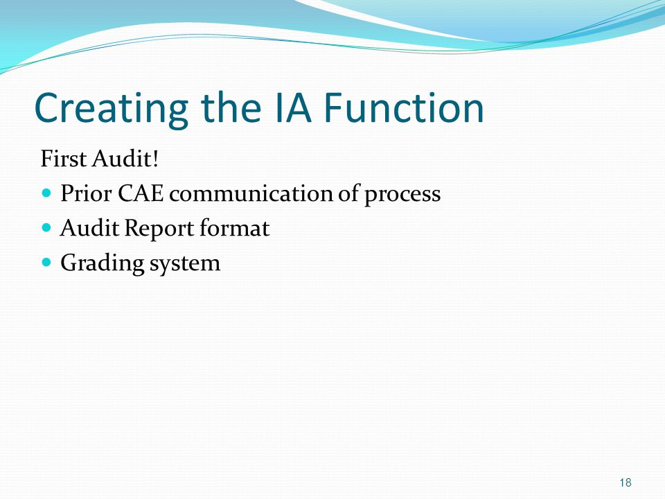 Creating the IA Function First Audit.