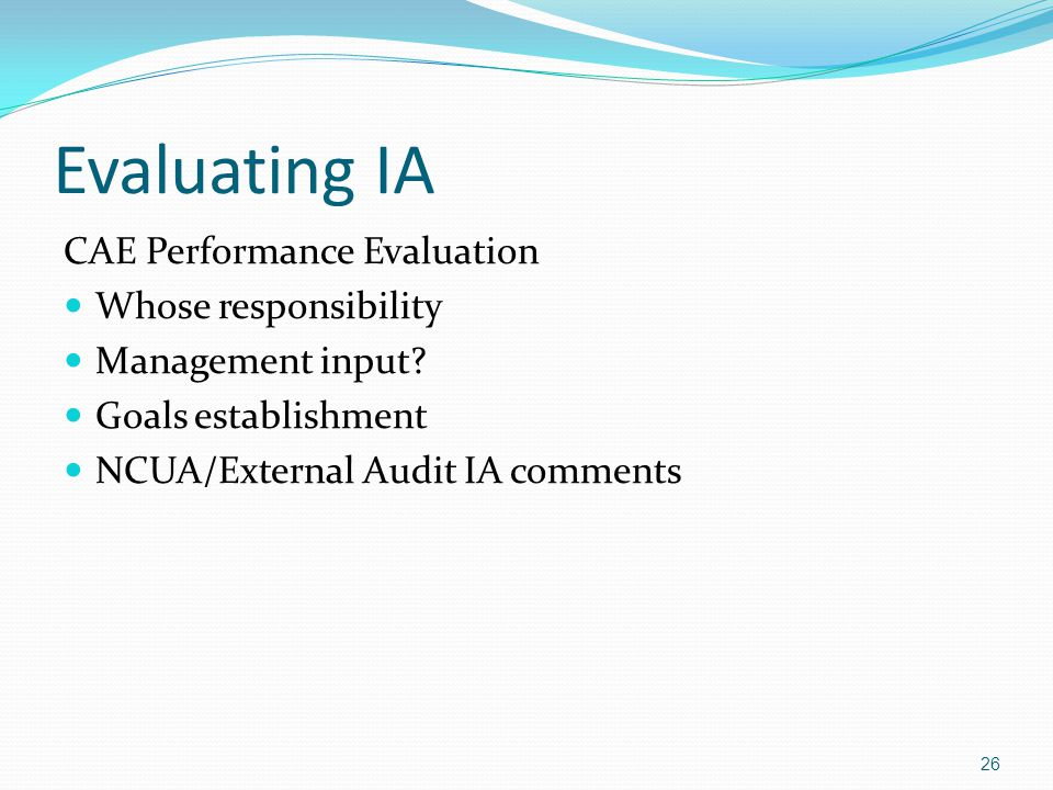 Evaluating IA CAE Performance Evaluation Whose responsibility Management input.