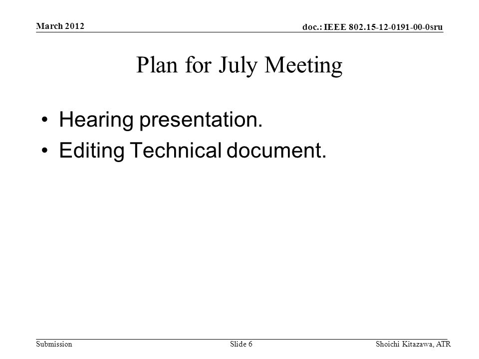 doc.: IEEE sru Submission Plan for July Meeting Hearing presentation.