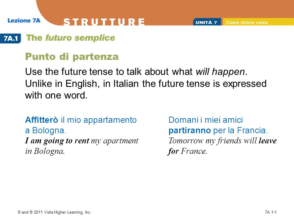 © and ® 2011 Vista Higher Learning, Inc.7A.1-1 Punto di partenza Use the future tense to talk about what will happen.