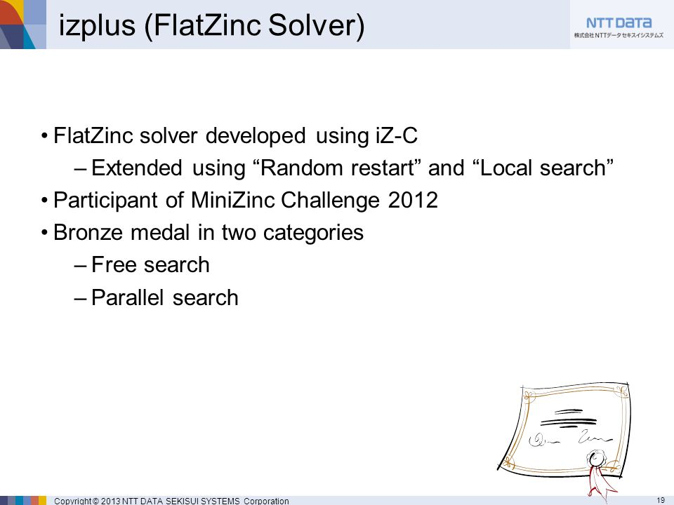 19 Copyright © 2013 NTT DATA SEKISUI SYSTEMS Corporation izplus (FlatZinc Solver) FlatZinc solver developed using iZ-C –Extended using Random restart and Local search Participant of MiniZinc Challenge 2012 Bronze medal in two categories –Free search –Parallel search