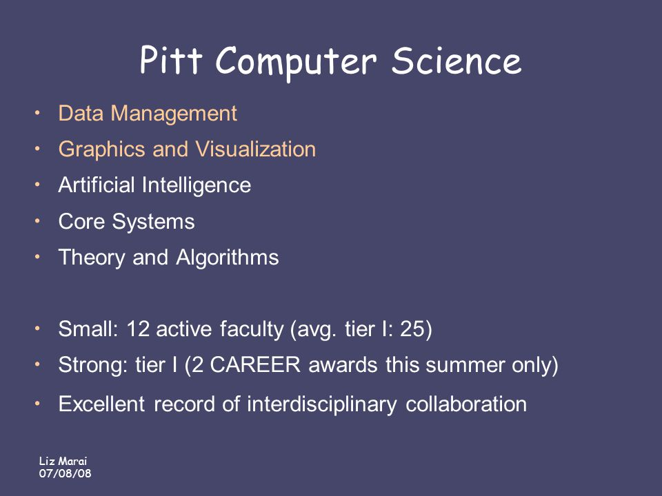 Liz Marai 07/08/08 Pitt Computer Science Data Management Graphics and Visualization Artificial Intelligence Core Systems Theory and Algorithms Small: 12 active faculty (avg.