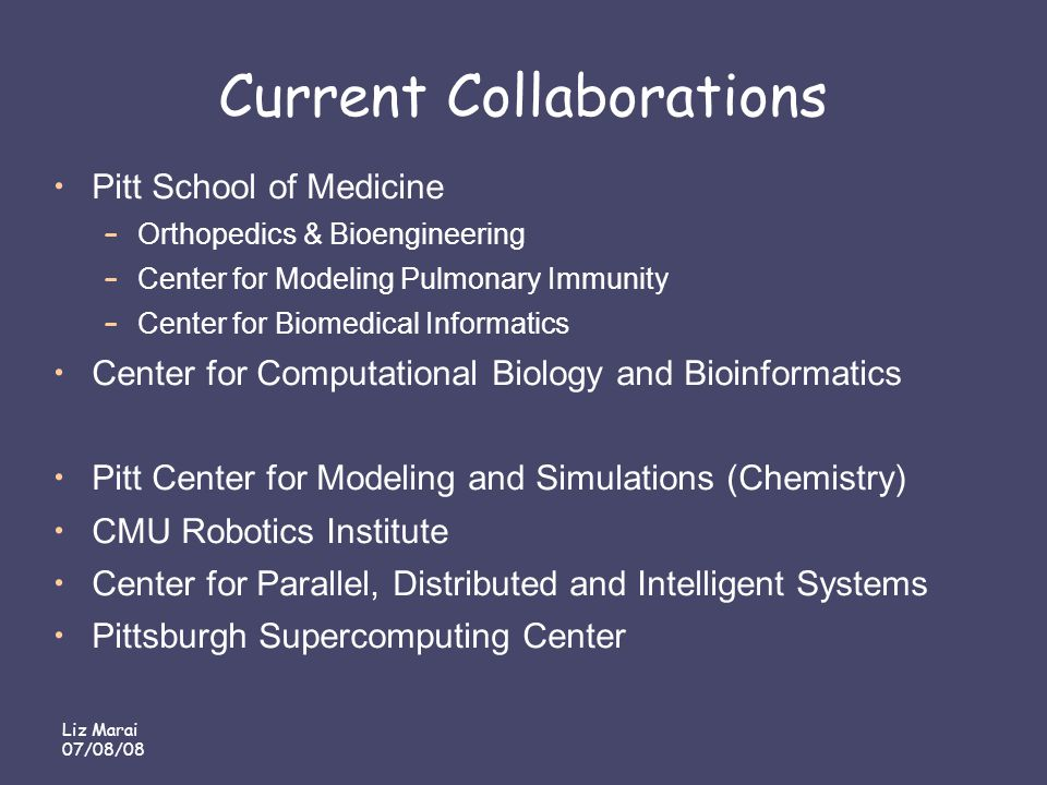 Liz Marai 07/08/08 Current Collaborations Pitt School of Medicine – Orthopedics & Bioengineering – Center for Modeling Pulmonary Immunity – Center for Biomedical Informatics Center for Computational Biology and Bioinformatics Pitt Center for Modeling and Simulations (Chemistry) CMU Robotics Institute Center for Parallel, Distributed and Intelligent Systems Pittsburgh Supercomputing Center