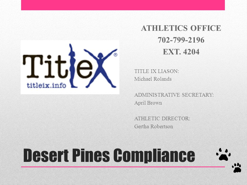 Desert Pines Compliance ATHLETICS OFFICE 702-799-2196 EXT.
