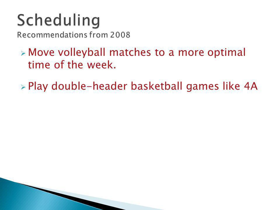  Move volleyball matches to a more optimal time of the week.