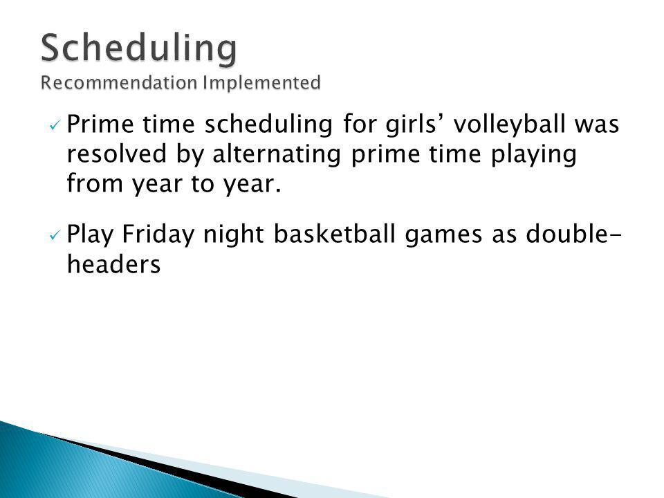 Prime time scheduling for girls' volleyball was resolved by alternating prime time playing from year to year.